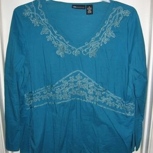 relativity boho embroidered top 1X